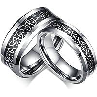 Bishilin 8MM/6MM Tungsteno Carbide Fibra di Carbonio Coppia Anello di Fidanzamento con Incisione(Prezzo per 1pc)