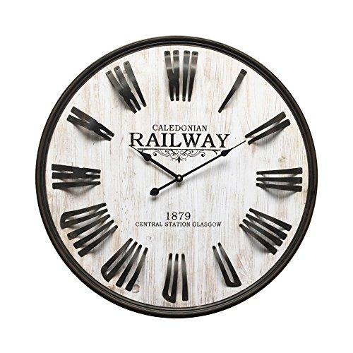 Mobili Rebecca Reloj Decorativo Reloj de Madera Gris Negro Estilo Industrial Salón (Cod. RE6150)