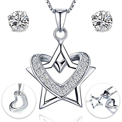 Gilind 925 Sterlingsilber -Stern-Herz-Halskette und Ohrringe Set für Damen + Geschenkbox (Star + Heart)