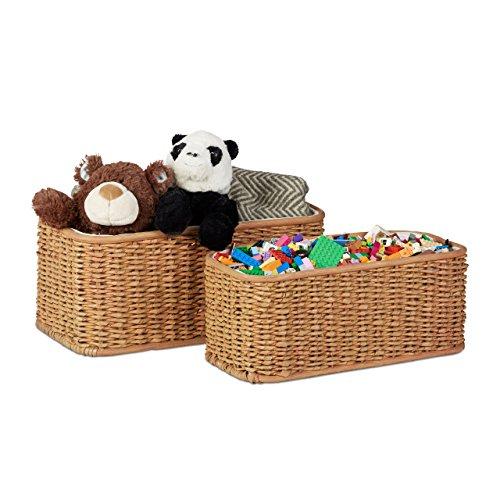 Relaxdays Korb Set Buri, 2 geflochtene Dekokörbe, Flechtkorb mit Stoffbezug, dekorativer Aufbewahrungskorb, honigbraun