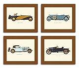 #5: Painting Mantra 'Vintage Car ,BUGATTI-MERCEDES-DELAGE-HISPANO' Framed Poster set of 4.