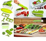 WebelKart 12-Piece Vegetable Cutter, Chopper, Slicer, Mincer, Blender, Mandolin, Grater, Peeler (Green)