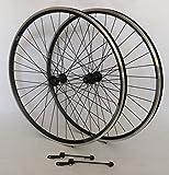 Vuelta 28 Zoll EXAL Fahrrad Laufradsatz Hohlkammerfelge ZX19 schwarz Shimano HBT670/FHT670 mit Schnellspanner schwarz Niro schwarz