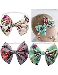 tikitaka bebé niñas infantil recién nacidos flores impresión Mariposa arco hairband nudo turbante Diadema Pelo Banda Accesorios