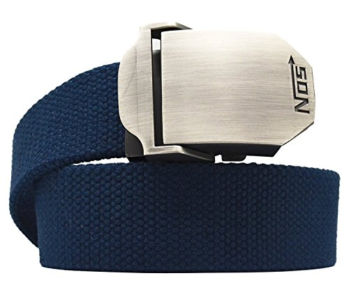 Cinturón de Meta-U, unisex, con correa de lona y hebilla de metal  azul azul oscuro talla única