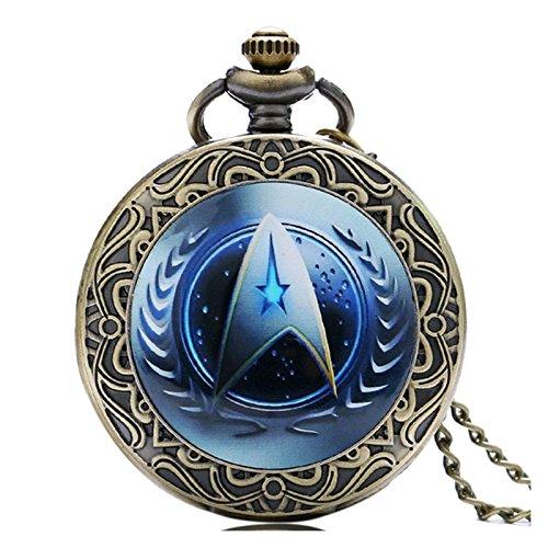 Herren Quarz-Taschenuhr mit einem blauen STAR-TREK-Logo - gestaltet mit Antik-Bronze-Effekt im Retro/Vintage-Design - und einer Halskette-einer 80 cm langen Kette.