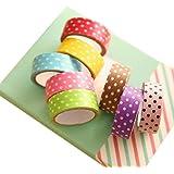Sannysis® 8pcs DIY encaje satinado cinta decorativa; Cinta de dibujos animados etiqueta de papel Dots