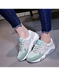 NGRDX&G Calzado Deportivo De Malla Transpirable Femenina Con Zapatos Casuales, Gris-Verde, 38