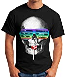 einzigartiges Herren T-Shirt, Totenkopf Skull Lolly Hippie Retro 70er, Fun-Shirt Moonworks® schwarz 3XL