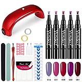 Gel-Nagellack-Kit mit UV-Licht, 5 Farben Gel-Lack-Starter-Kit 9W geführtes Uv-Nageltrockner-Aushärtelampe-Maniküre-Nagel-Werkzeug
