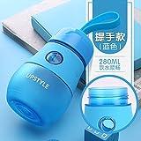 LKJH* Kreative Mini Kinder Schüssel Wasser Wasserkocher portable dicht Studenten Tube Cup niedliche Mädchen an ihren Fingerspitzen, blau -280ml Becher (Seil)