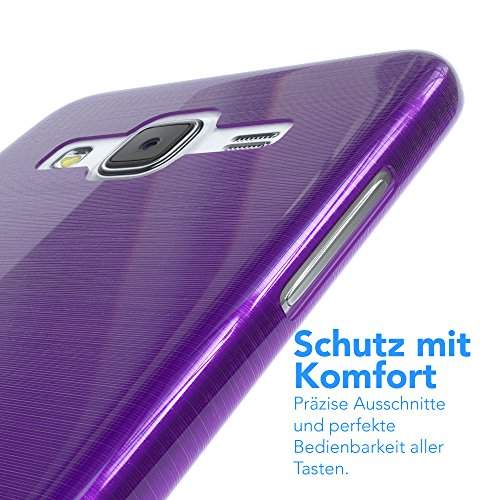 Samsung Galaxy J5 (altes Modell) Hülle - EAZY CASE Ultra Slim Cover Handyhülle - dünne Schutzhülle aus Silikon in Transparent Brushed Lila