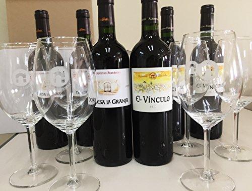 Tinto Pesquera - Caja Grupo Pesquera Con 6 Copas De Vino De Diseño Y 6 Botellas De Vino Tinto, Tres Botellas El Vinculo 2011 Y Tres Botellas Dehesa La Granja 2009