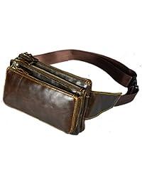 Buyworld Men Oil Wax Genuine Cowhide Vintage Travel Cell/Mobile Phone Bag Hip Bum Belt Pouch Fanny Pack Waist...