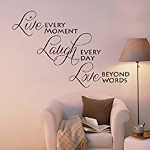 "Live every moment, Laugh every day love Beyond Words Inspirational Familia pared adhesivo decorativo para habitación dormitorio pared pegatinas Citas entfernbare vinilo Amor Quotes, vinilo, custom, 38""hx57""w"