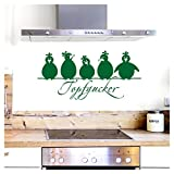 Grandora Wandtattoo Topfgucker 5 Vögel I grün 30 x 14 cm I Küche Spruch Zitat Aufkleber selbstklebend Wandaufkleber Wandsticker W862