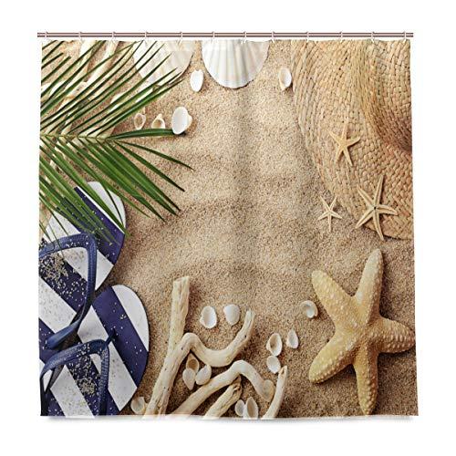 vinlin Sommer Strand Seashell Wasserdicht Badezimmer Zubehör Vorhang für die Dusche Badewanne Vorhang 182,9x 182,9cm