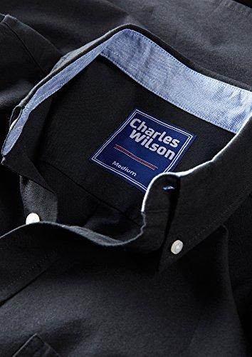 Charles Wilson Langärmliges Oxford Freizeithemd Schwarz