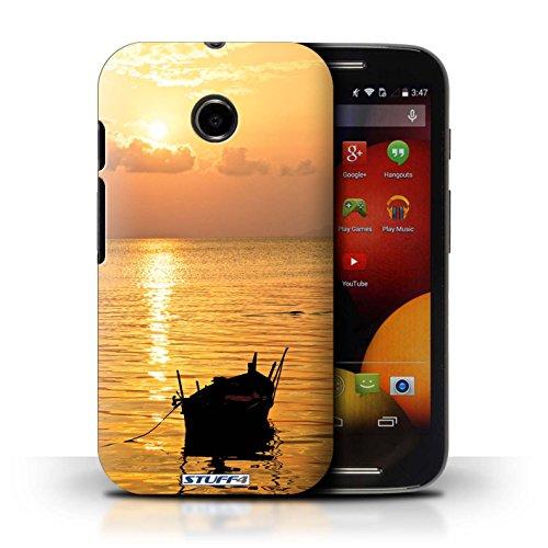 Kobalt® Imprimé Etui / Coque pour Motorola Moto E (2014) / mer conception / Série Coucher du Soleil Bateau de pêche