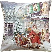 Kissenhülle 40x40 Weihnachtsmann Elch Nostalgie Weihnachten Winter Vintage
