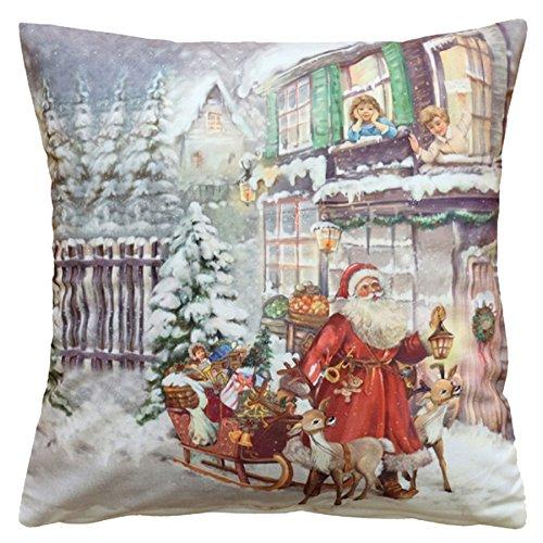 kuschelweiche KISSENHÜLLE 40x40 cm Weihnachtsmann am Haus WEIHNACHTEN Winter Dekokissen Kurzvelours Soft Touch Kissenbezug Kissen (Weihnachtsmann am Haus)
