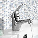 iBathUK | Chrome Basin Sink Monobloc Mixer Tap Small Modern Bathroom Lever Faucet