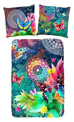 HIP Parada bettwäsche, grau mit farbigen Figuren und Schmetterlinge, 100{9ea4cb5f2c28c51197c663f76971e922ff955f8777b73e27f8a2e73d5047a1a1} Baumwolle/Satin-135x200cm, Satin Multi Colour 200x135x0.5 cm