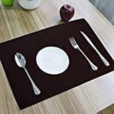 Kuber IndustriesTM Dining Table Place Mats With Tea Coasters (Black_Set of 6 Pcs )