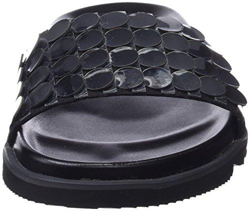Sixty Seven Nimix, Tongs Femme Multicolore - argenté/cuir de porc satiné noir (Circles Plata F / Cerdo Serraje Satinado Negro P)
