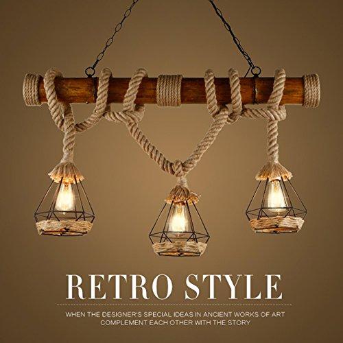 GRFH Rústico de cáñamo cuerda colgante luces de madera Downlights ...