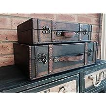 Maleta de madera antigua mirada de almacenamiento de tarjetas de troncales titular de bodas Post Box