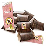 10 kleine Geschenkschachteln Geschenk-Boxen Kartons braun (14,5 x 10,5 + 3 cm Höhe) mit Aufkleber Banderole 'Pferd' in rosa pink - selber basteln und befüllen - als Verpackung