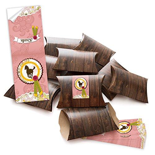 10 kleine Geschenkschachteln Geschenk-Boxen Kartons braun (14,5 x 10,5 + 3 cm Höhe) mit Aufkleber Banderole