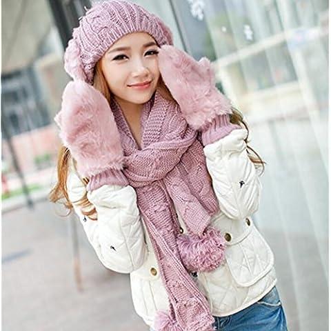 XWG Hat / Cappello sciarpa guanti set di 3 parti / inverno Ladies 'sciarpa di lana di personalità / guanti caldi / Combatti colori marea One ( colore : 1# )