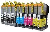 10 komp. XL Druckerpatronen ersatz für Brother DCP-J562DW DCP-J4120DW MFC-J480DW MFC-J880DW MFC-J4420DW MFC-J4620DW MFC