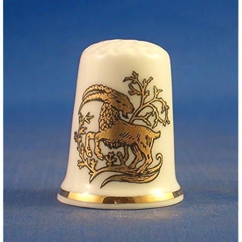 Porcelana China Coleccionable de dedal oro signos del zodiaco–-Capricornio la cabra