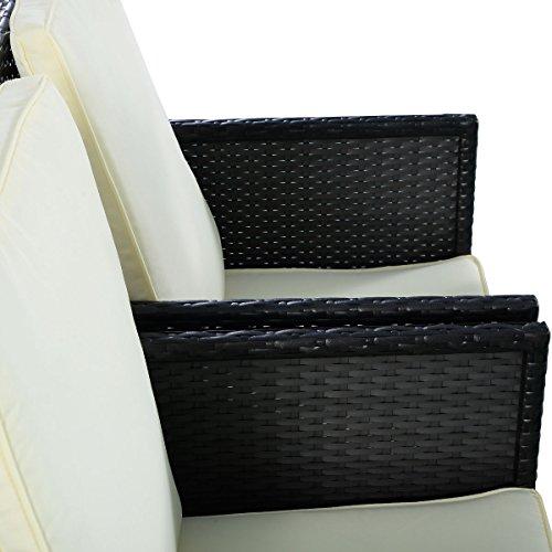 5tlg Gartenmöbel Polyrattan Lounge Set Esstisch Set Rattanmöbel Gartensitzgruppe Essgruppe Gartengarnitur Gartenset Tisch Stühlen Hocker Garnitur inkl. Kissen - 6