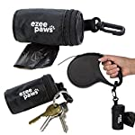 Ezee Paws Dog Poo Waste Bag Holder Dispenser with Lead Attachement and Key Clip Includes 5 Rolls (100 Bags) 7