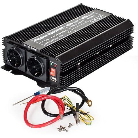 TecTake Inversor eléctrico onda modificada 12V a 220V de 1500W 3000W convertidor de voltaje