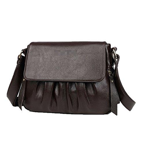Frauen Fahsion Gefaltet Crossbody Tasche PU Leder Umhängetasche Schulranzen Geldbörse Mehrfarbig,Brown-M (Brown-leder-gefaltete Geldbörse -)