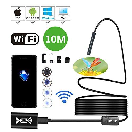 KOBWA 1200P HD IP68 Kabelloses WiFi Endoskopkamera, 8 Einstellbare LED Endoskop Inspektionskamera, 2,0 Megapixel Boreskope Schlange Kamera für Android und IOS Smartphone, Windows and Mac (10M)