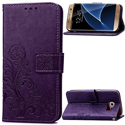 Galaxy S7 edge Hülle, SATURCASE Glücksklee PU leder Flip Magnetverschluss Brieftasche Standfunktion Kartenschlitzs Tasche Hülle Schutzhülle Handycover für Samsung Galaxy S7 edge SM-G935F Lila