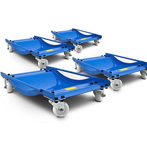 ms-point BITUXX® 4 Stück Rangierhilfe für PKW Auto Rangierroller Rangierheber Wagenheber Roller Belastbar bis 450 kg pro Rangierroller