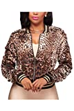 Damen Bomber Jacke, Lange Ärmel Leopardenmuster Bolero Jacke Mit Reißverschluss Leopard M