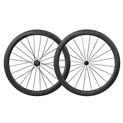 ICAN 700C Carbon Road Bike Wheel 50mm Clincher Tubeless Ready with Bushing Ceramic Bearing