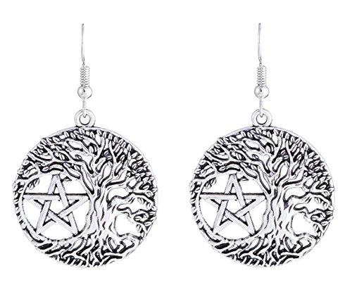 Lemegeton Punk Vintage Yggdrasil Tree of Life Pentacle Talisman Charm Drop Earrings Wiccan Pagan Jewelry for Women