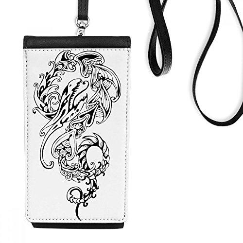 DIYthinker Chinese Linie Malerei China Dragon Kultur Traditionelle Kunst Loong Kunstleder Smartphone hängende Handtasche Schwarze Phone Wallet Geschenk