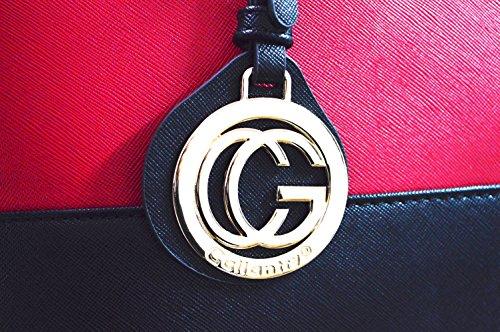 Gallantry Paris - Sac de cours/Sac à main/Sac cabas/Sac porté épaule femme(Noir Simple) Noir/Rouge Vive