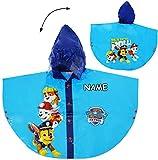Unbekannt Regencape / Regenponcho -  Paw Patrol - Hunde  - incl. Name - Gr. 98 - 104 - Circa 3 bis 4 Jahre - für Kinder - Mädchen & Jungen / für Schulranzen - wasserd..