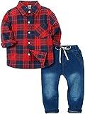 Zoerea Baby Jungen Bekleidungssets Kariertes Hemd & Jeans Langarm T-Shirt Baby Anzug Rot und Schwarz,100
